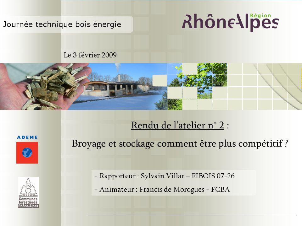 Journée technique bois énergie Rendu de latelier n° 2 : Broyage et stockage comment être plus compétitif ? - Rapporteur : Sylvain Villar – FIBOIS 07-2