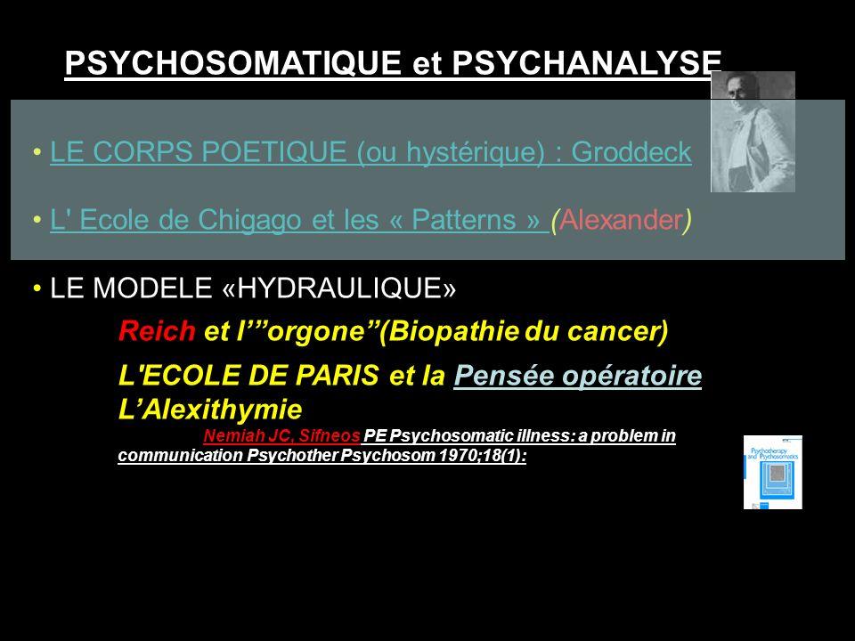 PSYCHOSOMATIQUE et PSYCHANALYSE LE CORPS POETIQUE (ou hystérique) : GroddeckLE CORPS POETIQUE (ou hystérique) : Groddeck L' Ecole de Chigago et les «