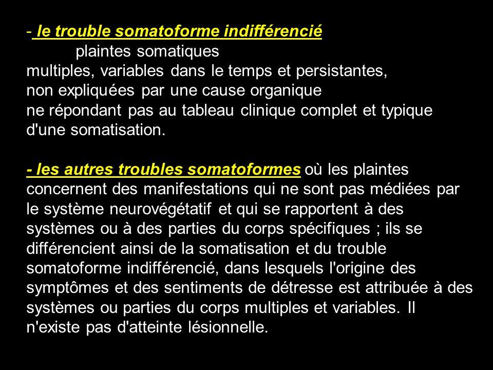 - le trouble somatoforme indifférencié plaintes somatiques multiples, variables dans le temps et persistantes, non expliquées par une cause organique
