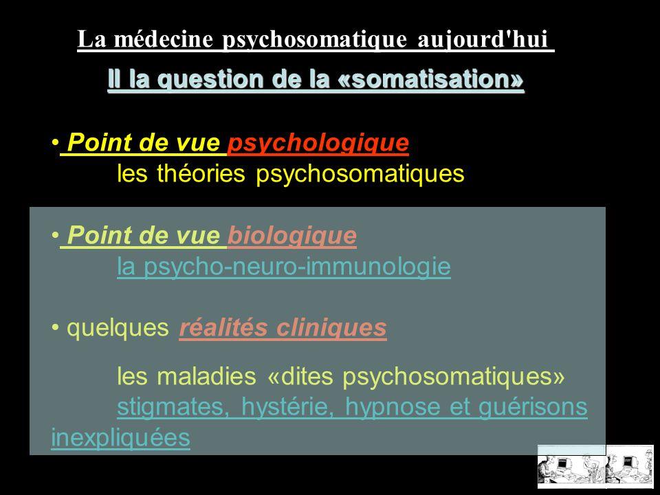 La médecine psychosomatique aujourd'hui II la question de la «somatisation» Point de vue psychologique les théories psychosomatiques Point de vue biol
