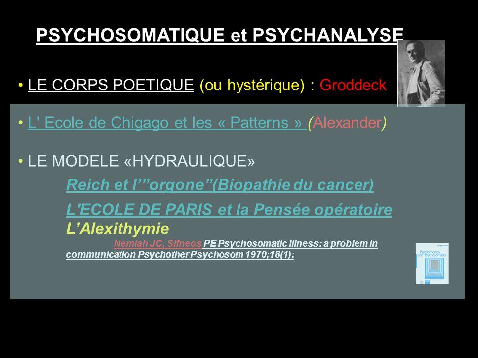 PSYCHOSOMATIQUE et PSYCHANALYSE LE CORPS POETIQUE (ou hystérique) : Groddeck L' Ecole de Chigago et les « Patterns » (Alexander)L' Ecole de Chigago et