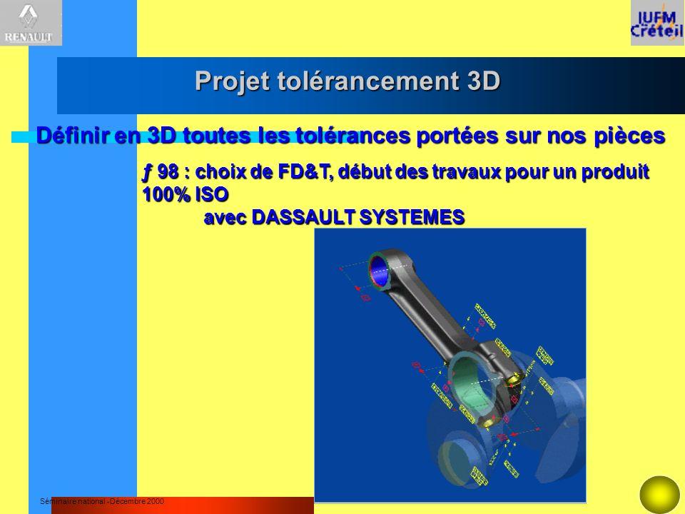 Séminaire national -Décembre 2000 Définir en 3D toutes les tolérances portées sur nos pièces ƒ 98 : choix de FD&T, début des travaux pour un produit 1