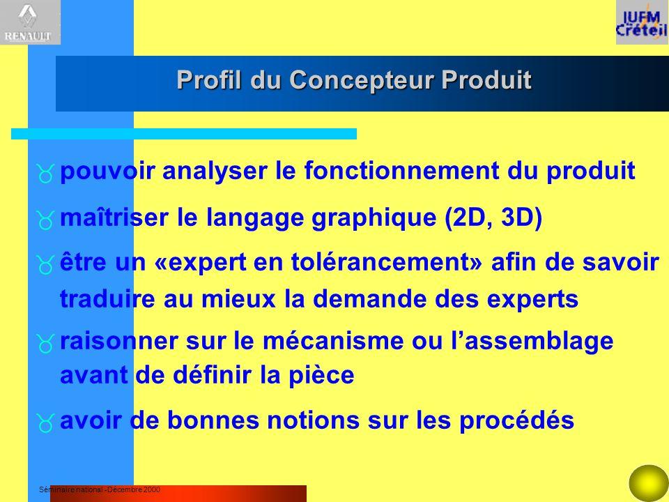 Séminaire national -Décembre 2000 Profil du Concepteur Produit pouvoir analyser le fonctionnement du produit maîtriser le langage graphique (2D, 3D) ê