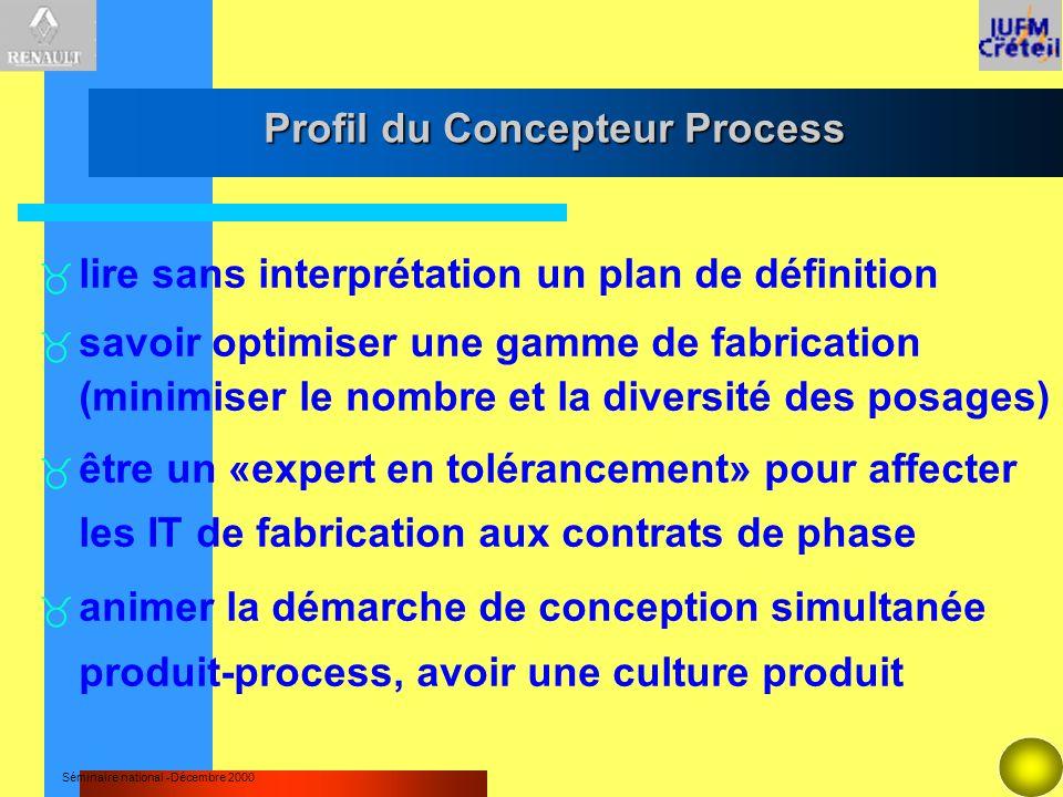 Séminaire national -Décembre 2000 Profil du Concepteur Process lire sans interprétation un plan de définition savoir optimiser une gamme de fabricatio