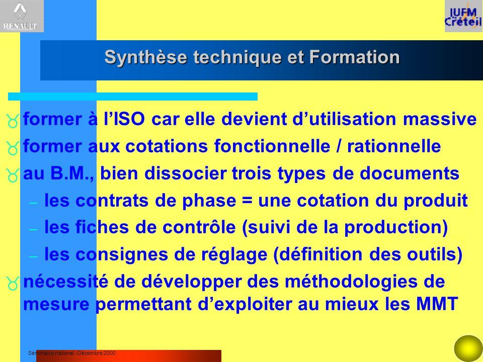 Séminaire national -Décembre 2000 Synthèse technique et Formation former à lISO car elle devient dutilisation massive former aux cotations fonctionnel