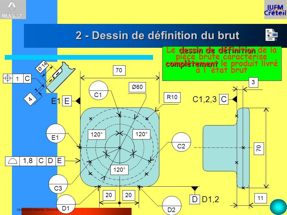 Séminaire national -Décembre 2000 2 - Dessin de définition du brut dessin de définition complètement Le dessin de définition de la pièce brute caracté