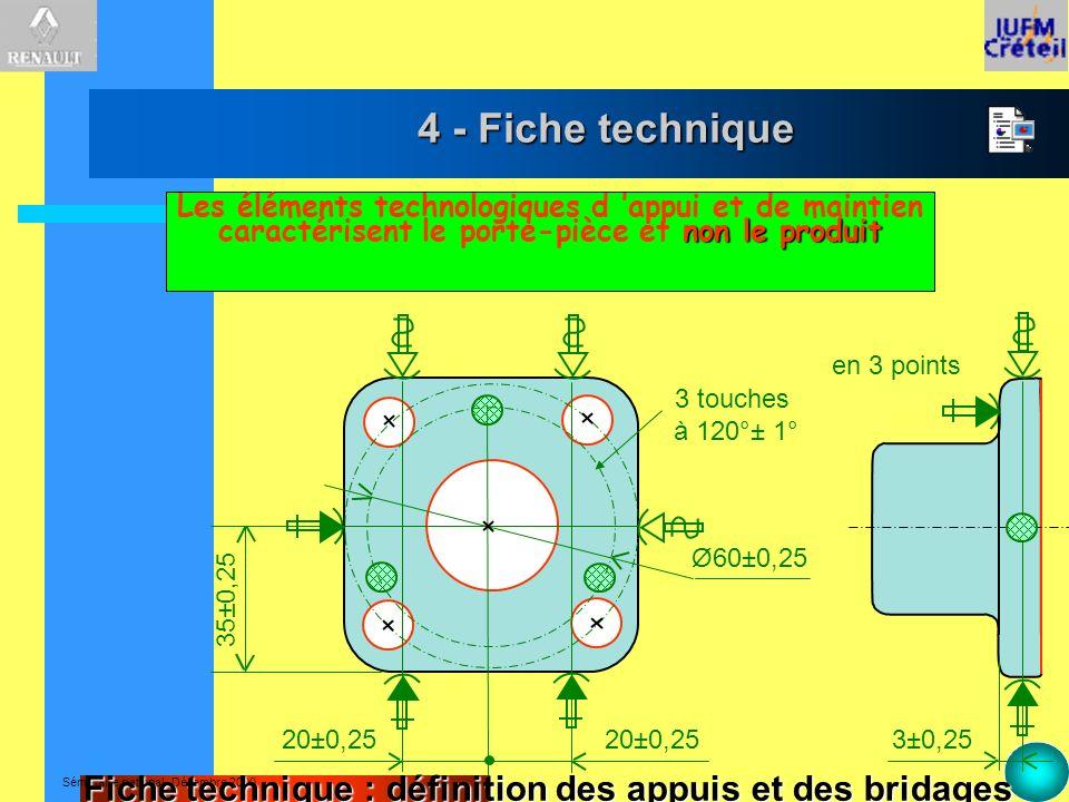 Séminaire national -Décembre 2000 4 - Fiche technique 3 touches à 120°± 1° Ø60±0,25 20±0,25 35±0,25 3±0,25 en 3 points non le produit Les éléments tec