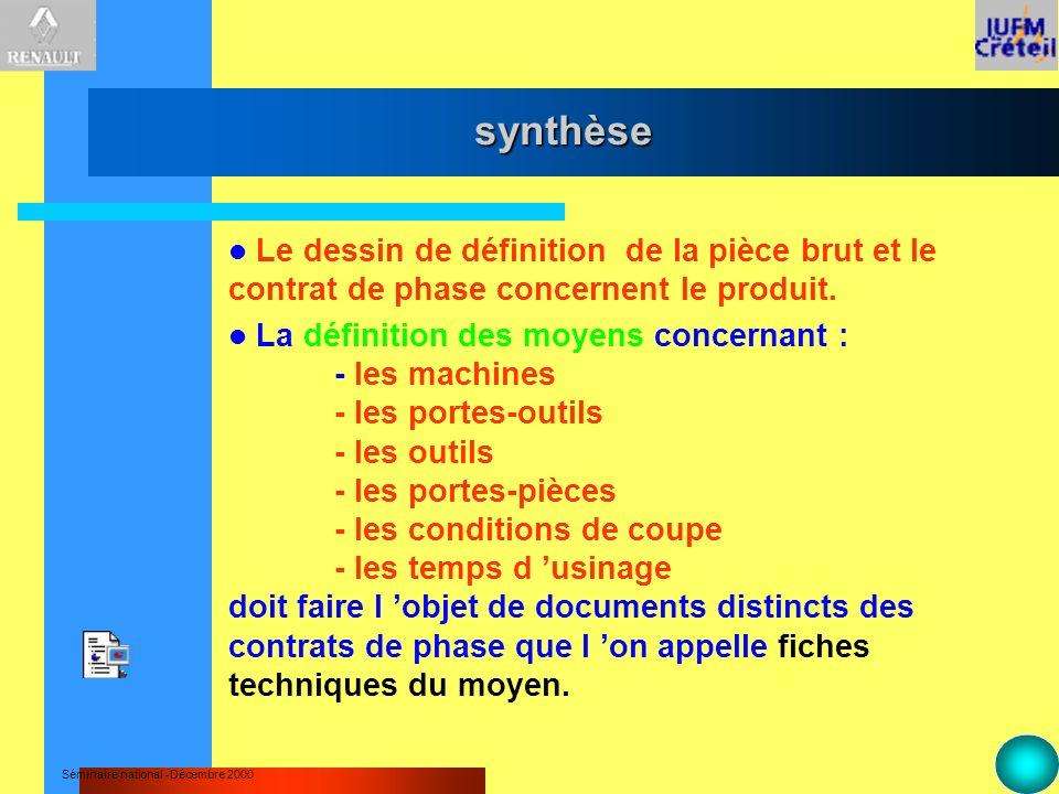 Séminaire national -Décembre 2000 synthèse Le dessin de définition de la pièce brut et le contrat de phase concernent le produit. La définition des mo