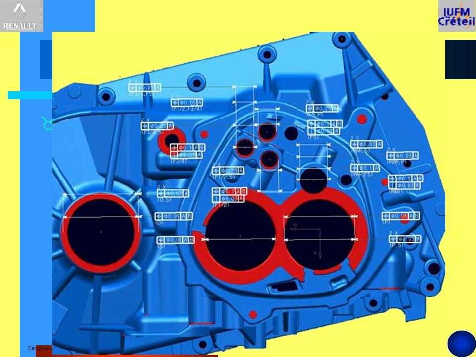 Séminaire national -Décembre 2000 A Ø0,3 A 104 B Ø0,5 A B Ø30±0,05 Ø70 4xØ8,5±0,1 100-101-102-103 E M 0,05 Ø0,2 C D E 0,5 C CC1,2,3 10 Tolérancement des caractéristiques crées sur le produit D D1,2 EE1 F F F-F G G 3 - Contrat de phase (début) Le contrat de phase spécifie en normes GPS les relations entre les surfaces actives de la phase