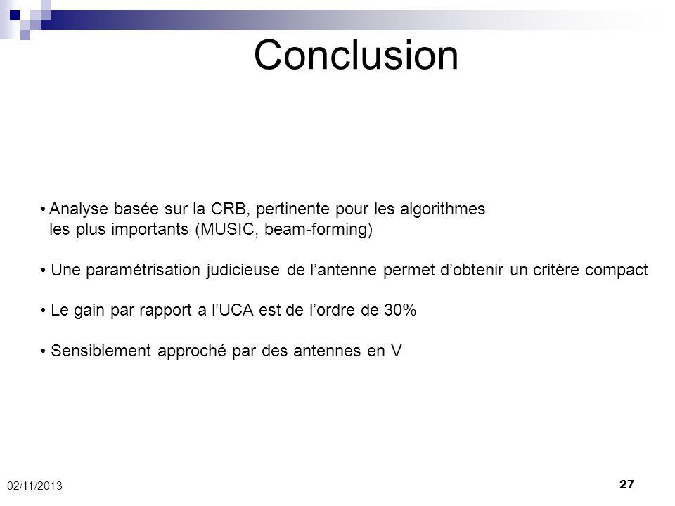 27 Conclusion 02/11/2013 Analyse basée sur la CRB, pertinente pour les algorithmes les plus importants (MUSIC, beam-forming) Une paramétrisation judic