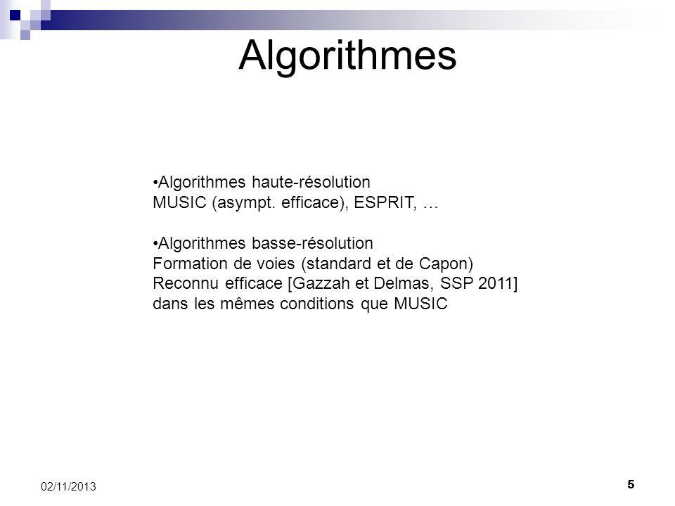 5 02/11/2013 Algorithmes Algorithmes haute-résolution MUSIC (asympt. efficace), ESPRIT, … Algorithmes basse-résolution Formation de voies (standard et