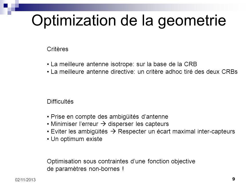 9 02/11/2013 Optimization de la geometrie Critères La meilleure antenne isotrope: sur la base de la CRB La meilleure antenne directive: un critère adh