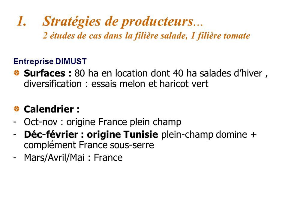 1.Stratégies de producteurs... 2 études de cas dans la filière salade, 1 filière tomate Entreprise Dimust production-expédition (Perpignan), C.A : 8 M