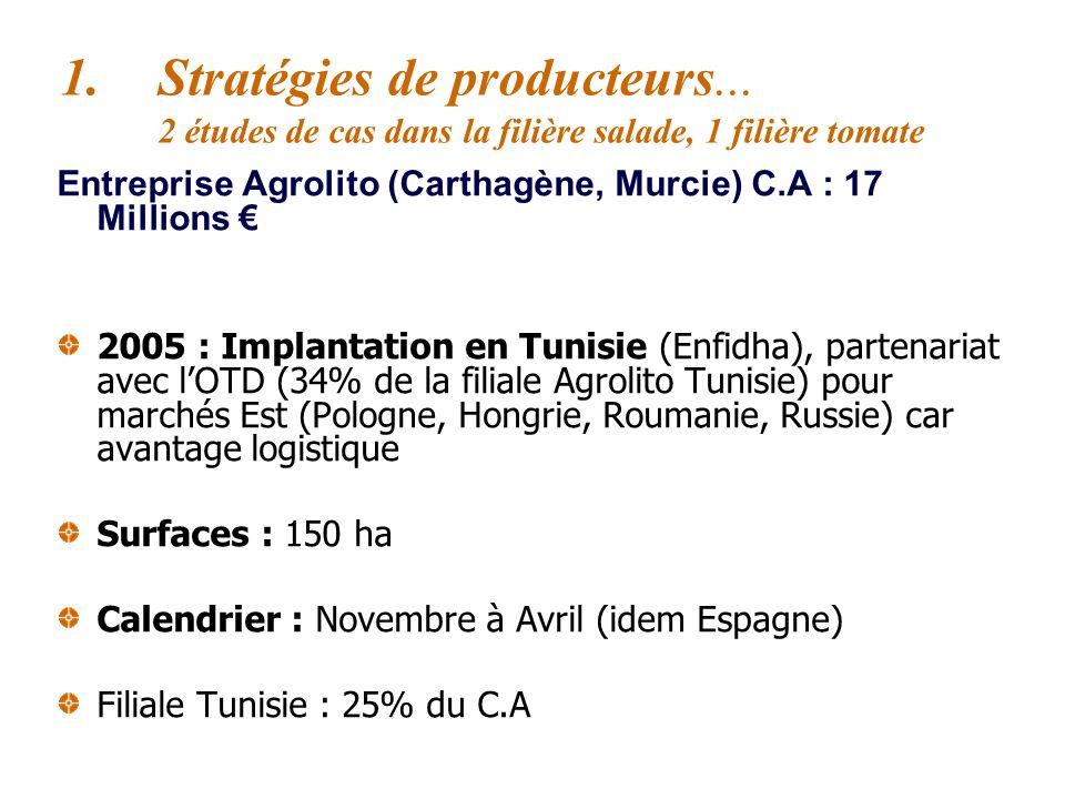 Entreprise Agrolito (Carthagène, Murcie) C.A : 17 Millions Produit standard : iceberg Historique : 1996 producteur français en France (Normandie) de s