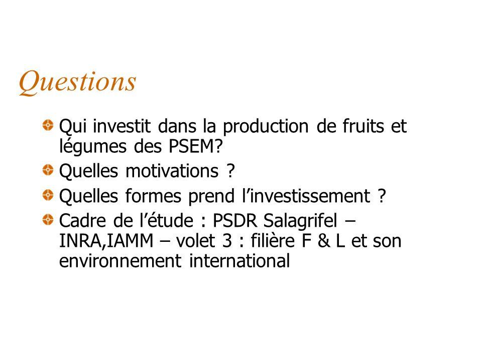 Contexte Comparaison Nord-Sud des enjeux des filières F&L Au Nord Pression concurrentielle des productions des PSEM Coûts élevés, perte de compétitivi
