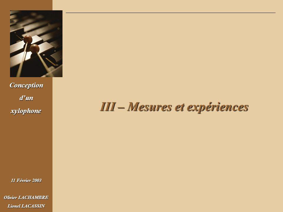 Conceptiondunxylophone 11 Février 2003 Olivier LACHAMBRE Lionel LACASSIN III – Mesures et expériences III – Mesures et expériences