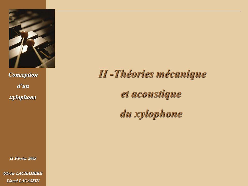 Conceptiondunxylophone 11 Février 2003 Olivier LACHAMBRE Lionel LACASSIN II - Théorie mécanique et acoustique du xylophone Théorie mécanique Solutions de la forme : Recherche des modes propres Fréquences de résonance
