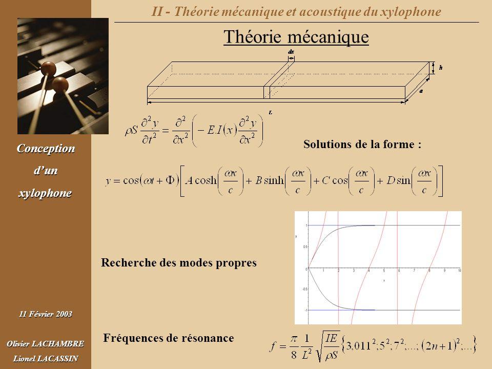 Conceptiondunxylophone 11 Février 2003 Olivier LACHAMBRE Lionel LACASSIN II - Théorie mécanique et acoustique du xylophone Théorie mécanique Solutions