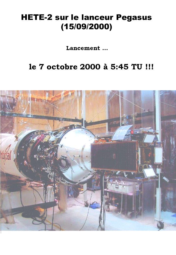 HETE-2 sur le lanceur Pegasus (15/09/2000) Lancement … le 7 octobre 2000 à 5:45 TU !!!