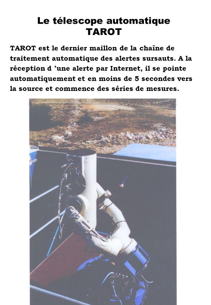 Le télescope automatique TAROT TAROT est le dernier maillon de la chaîne de traitement automatique des alertes sursauts. A la réception d une alerte p