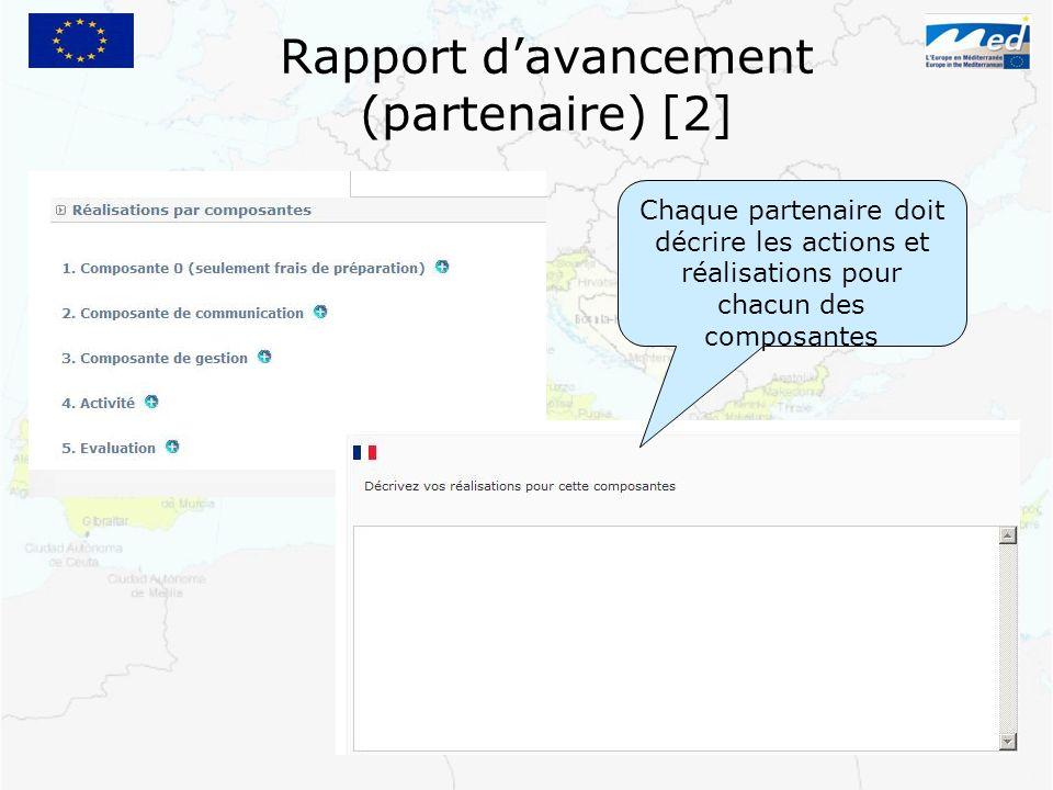 Rapport davancement (partenaire) [2] Chaque partenaire doit décrire les actions et réalisations pour chacun des composantes