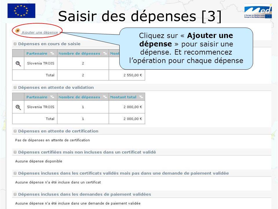 Saisir des dépenses [3] Cliquez sur « Ajouter une dépense » pour saisir une dépense. Et recommencez lopération pour chaque dépense