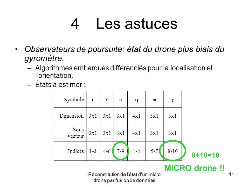 Reconstitution de l'état d'un micro drone par fusion de données 11 4Les astuces Observateurs de poursuite: état du drone plus biais du gyromètre. –Alg