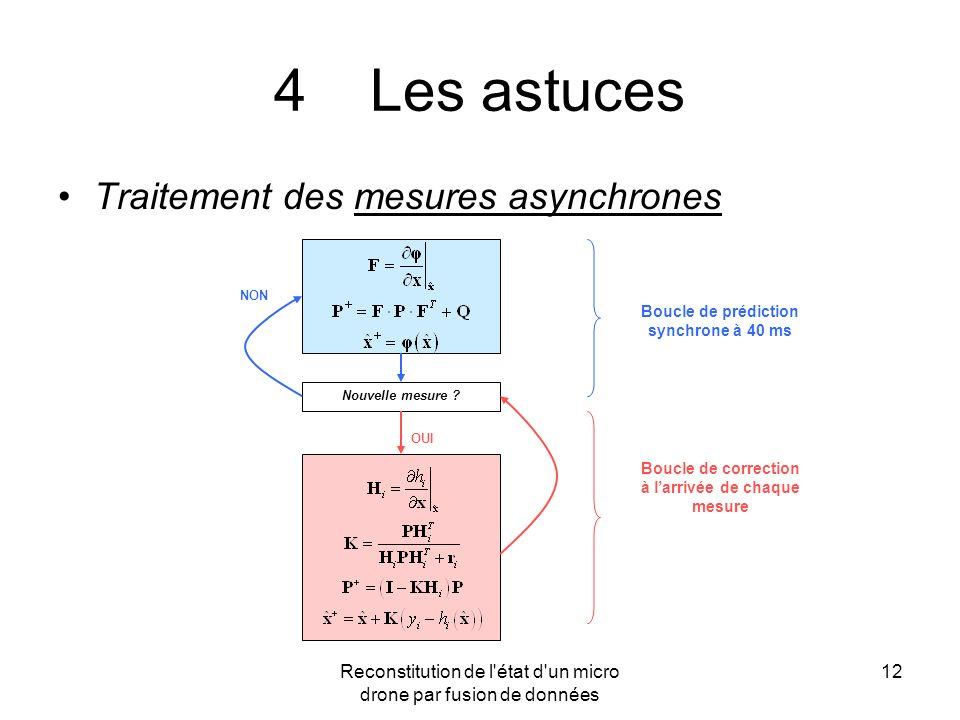 Reconstitution de l'état d'un micro drone par fusion de données 12 4Les astuces Traitement des mesures asynchrones Nouvelle mesure ? NON OUI Boucle de