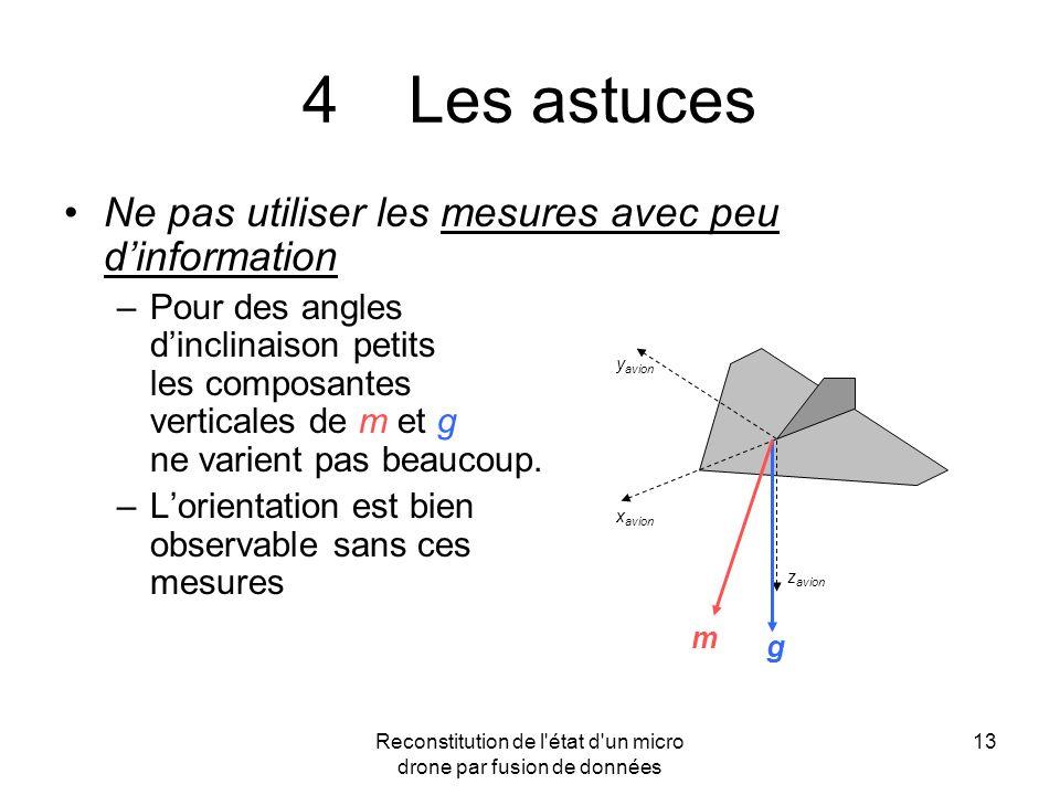 Reconstitution de l'état d'un micro drone par fusion de données 13 4Les astuces Ne pas utiliser les mesures avec peu dinformation –Pour des angles din