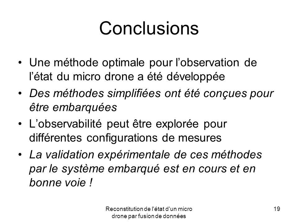 Reconstitution de l'état d'un micro drone par fusion de données 19 Conclusions Une méthode optimale pour lobservation de létat du micro drone a été dé