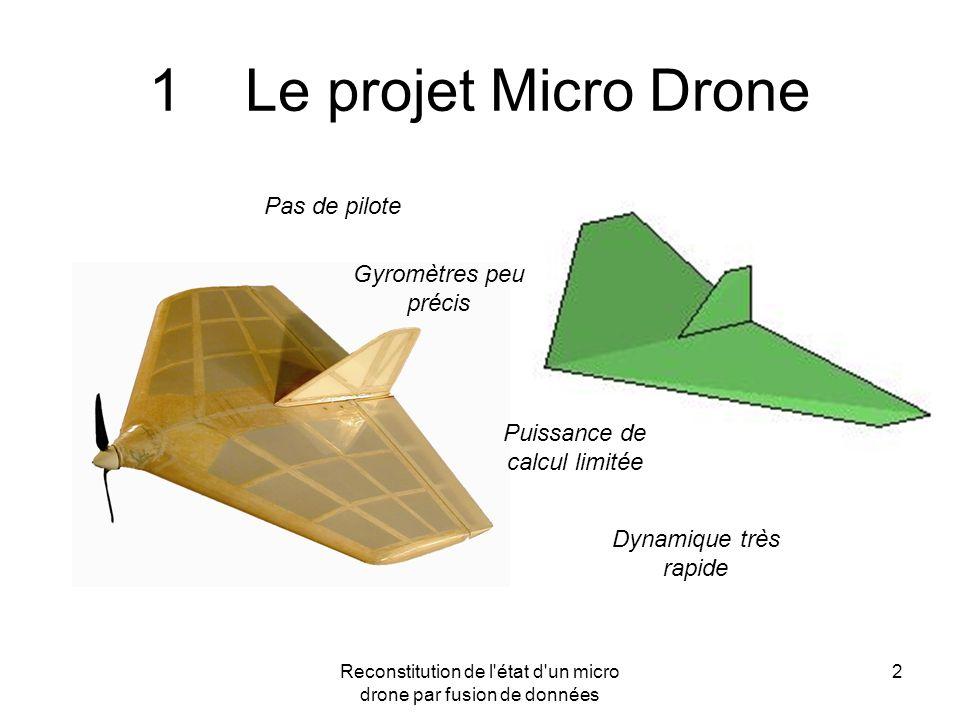 Reconstitution de l'état d'un micro drone par fusion de données 2 1Le projet Micro Drone Pas de pilote Gyromètres peu précis Puissance de calcul limit