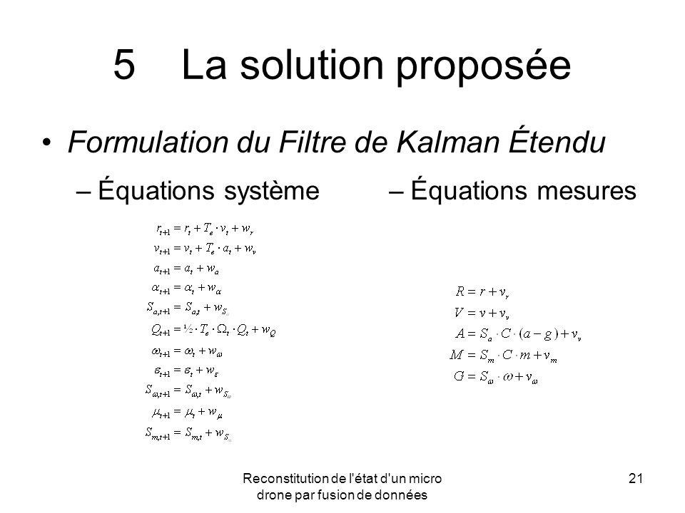 Reconstitution de l'état d'un micro drone par fusion de données 21 5La solution proposée Formulation du Filtre de Kalman Étendu –Équations système–Équ