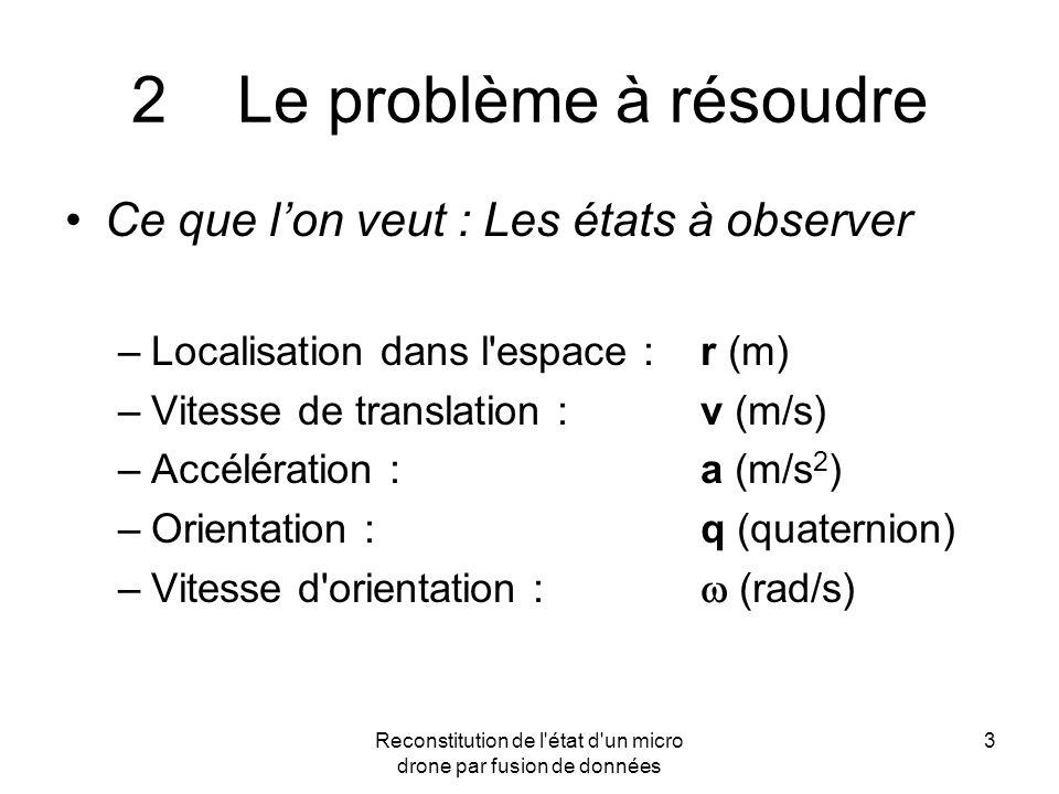 Reconstitution de l'état d'un micro drone par fusion de données 3 2Le problème à résoudre Ce que lon veut : Les états à observer –Localisation dans l'