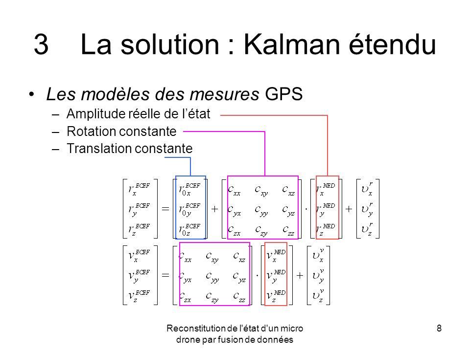 Reconstitution de l'état d'un micro drone par fusion de données 8 3La solution : Kalman étendu Les modèles des mesures GPS –Amplitude réelle de létat
