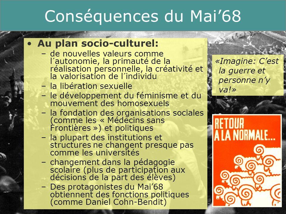 18 Running Title Conséquences du Mai68 Au plan socio-culturel: –de nouvelles valeurs comme l´autonomie, la primauté de la réalisation personnelle, la