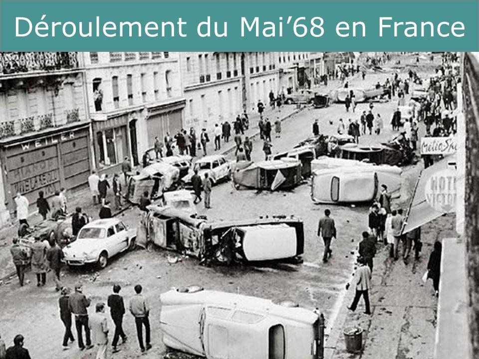 17 Running Title Conséquences du Mai68 Charles de Gaulle démissionne (en 1969) après de ne pas avoir imposé sa réforme constitutionnelle au référendum (réforme du senat, régionalisation) quand même : les conservateurs restent au pouvoir jusquen 1981 Pompidou (1969-74) + Giscard dEstaing (1974-81) sur le plan social, le gouvernement Chaban-Delmas (1969-74) adopte de nouvelles orientations : la « nouvelle société » veut répondre à certaines revendications de mai 1968 « Cours camarade, le vieux monde est derrière toi.