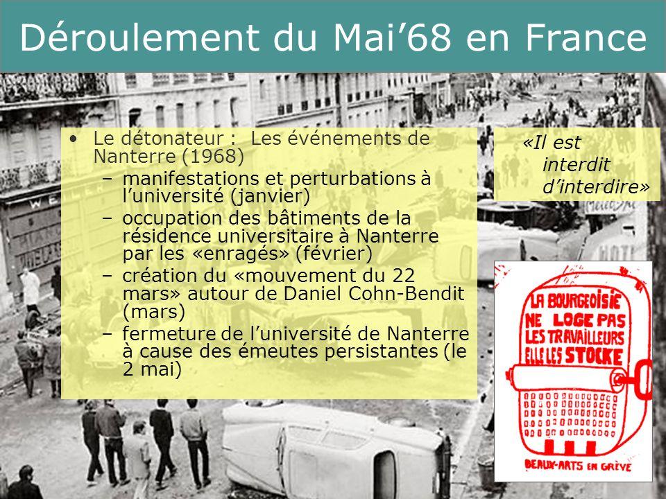 8 Running Title Déroulement du Mai68 en France Occupation de la Sorbonne par les étudiants (le 3 mai) –massives attaques de la part de la police; arrestations de masse –combats de rue dans le Quartier Latin pendant plusieurs jours –vague doccupations duniversités à travers la France –contre-manifestations organisées par le Parti Communiste Français (P.C.F.) et la Confédération Générale du Travail (CGT) mais : la devise des étudiants «ouvriers, étudiants, tous unis!» gagnait chaque jour en popularité «Limagination prend le pouvoir»