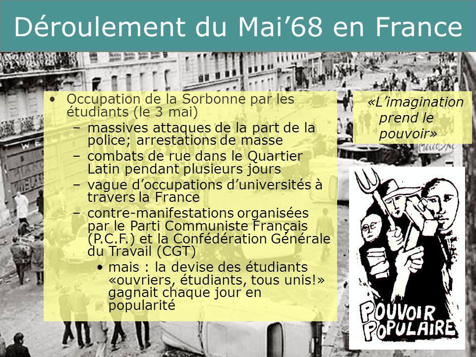 9 Running Title Déroulement du Mai68 en France «La nuit des barricades» à Paris (le 10/11 mai ) face à la répression policière, la population française avait tendance de sympathiser avec les étudiants Grève générale de tous les syndicats à lexception de la CGT (le 13 mai) immense manifestation commune douvriers et détudiants Début des «grèves sauvages» (le 17 mai) nombre de grévistes : 11 millions douvriers durée: plus de deux semaines le gouvernement de de Gaulle est pris de panique «Soyez réalistes, demandez limpossible»
