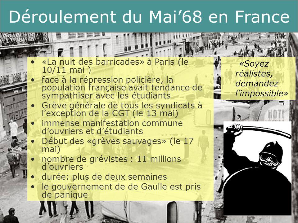 9 Running Title Déroulement du Mai68 en France «La nuit des barricades» à Paris (le 10/11 mai ) face à la répression policière, la population français