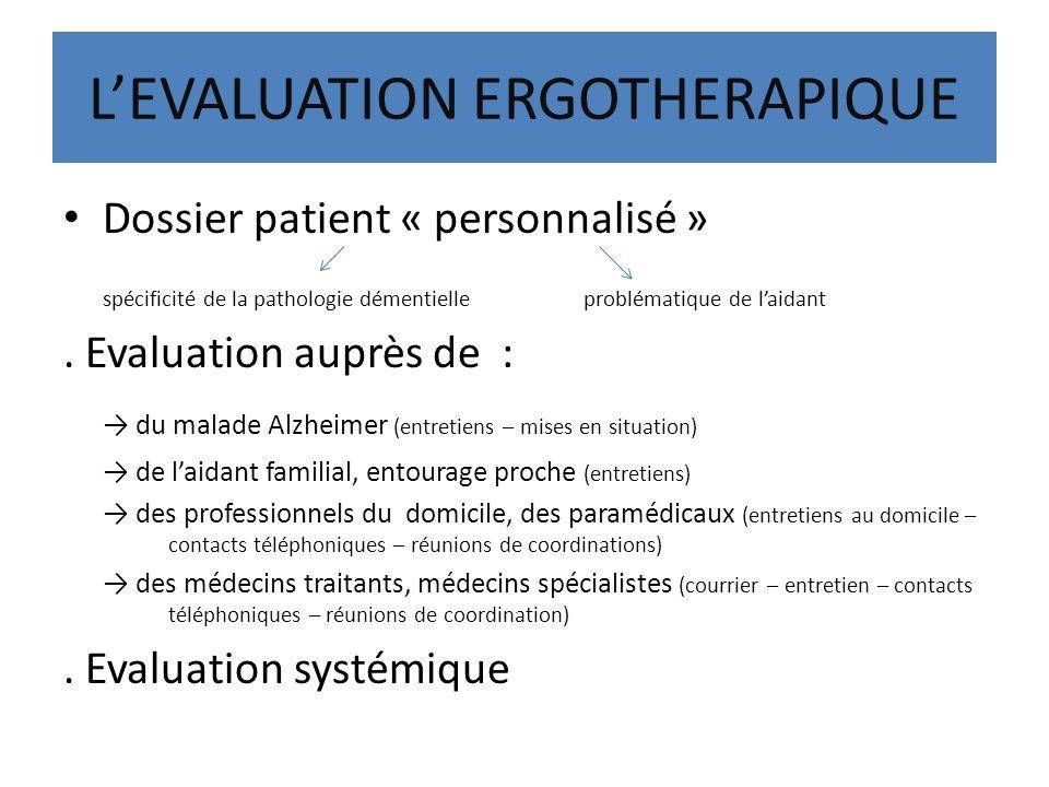LEVALUATION ERGOTHERAPIQUE Dossier patient « personnalisé » spécificité de la pathologie démentielle problématique de laidant. Evaluation auprès de :