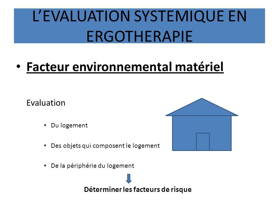 LEVALUATION SYSTEMIQUE EN ERGOTHERAPIE Facteur environnemental matériel Evaluation Du logement Des objets qui composent le logement De la périphérie d