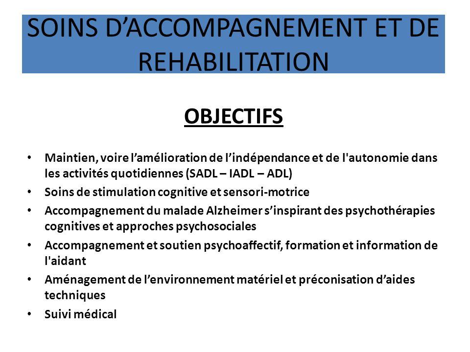 SOINS DACCOMPAGNEMENT ET DE REHABILITATION OBJECTIFS Maintien, voire lamélioration de lindépendance et de l'autonomie dans les activités quotidiennes