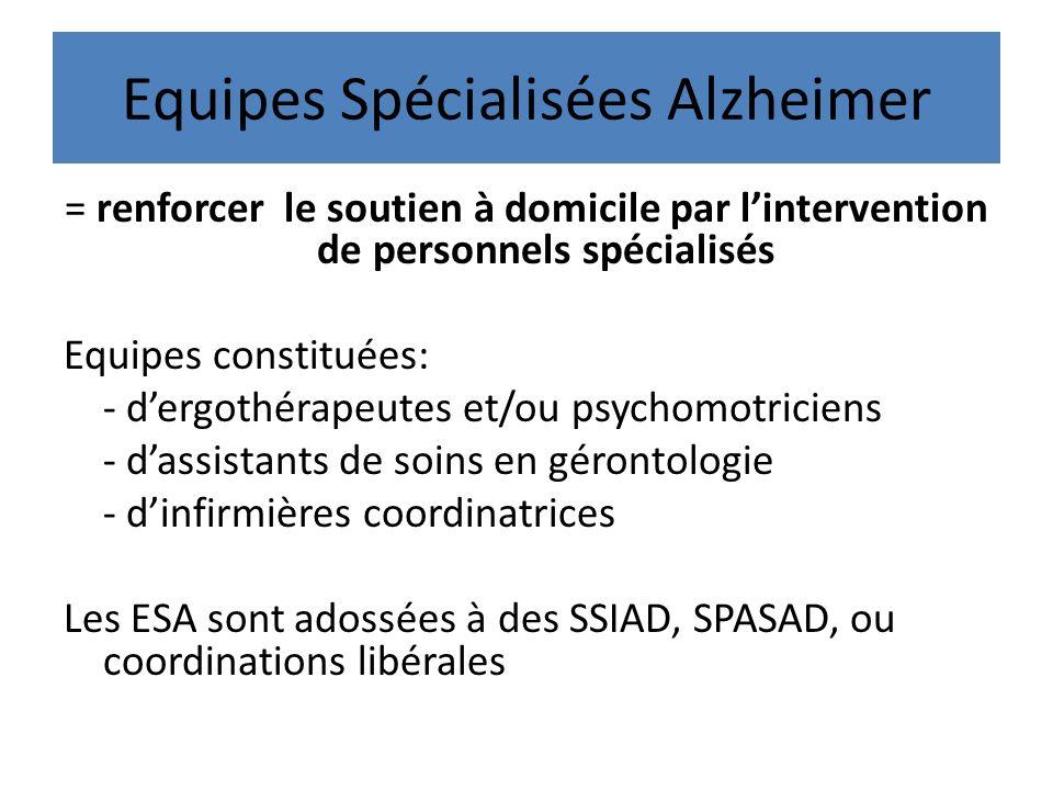 Equipes Spécialisées Alzheimer = renforcer le soutien à domicile par lintervention de personnels spécialisés Equipes constituées: - dergothérapeutes e