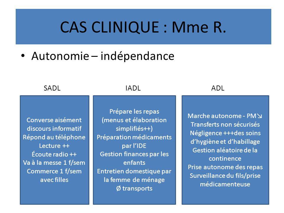 CAS CLINIQUE : Mme R. Autonomie – indépendance SADL IADL ADL Converse aisément discours informatif Répond au téléphone Lecture ++ Écoute radio ++ Va à