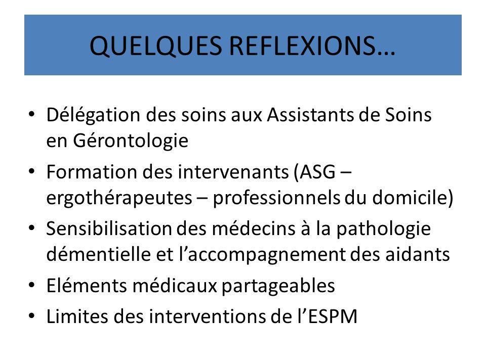 QUELQUES REFLEXIONS… Délégation des soins aux Assistants de Soins en Gérontologie Formation des intervenants (ASG – ergothérapeutes – professionnels d