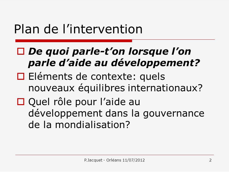 P.Jacquet - Orléans 11/07/201213 Un instrument dont on ne veut pas voir la dimension politique Cest largent du contribuable: donc cest politique.