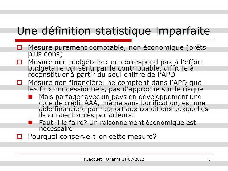 P.Jacquet - Orléans 11/07/20126 Une politique publique par défaut Au-delà de la statistique, il sagit dune politique publique.