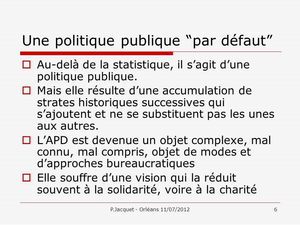 P.Jacquet - Orléans 11/07/201227 Rôle de laide Répartition : aide-transfert, amorce dune politique sociale mondiale.