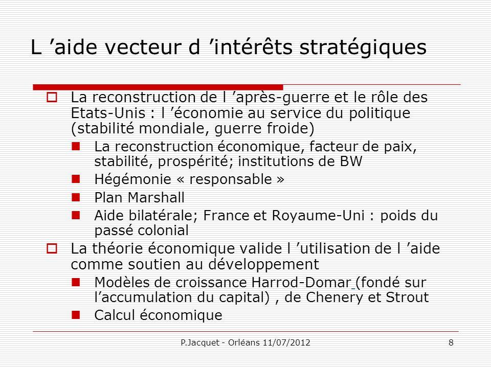 P.Jacquet - Orléans 11/07/201229 CONCLUSION Période-charnière en termes de gouvernance de la mondialisation Quelles valeurs.