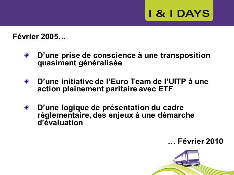 Février 2005… Dune prise de conscience à une transposition quasiment généralisée Dune initiative de lEuro Team de lUITP à une action pleinement parita
